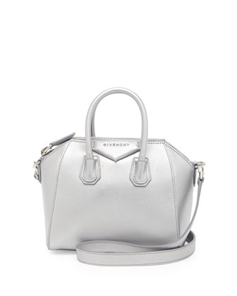 Antigona Mini Leather Satchel Bag, Silver