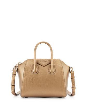 Antigona Mini Leather Satchel Bag, Gold