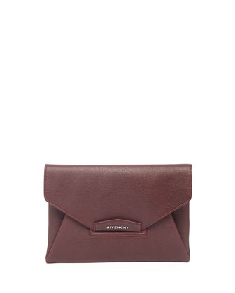Antigona Sugar Envelope Clutch Bag, Bordeaux