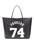 Antigona Favelas 74 Large Leather Shopping Tote, Black/White