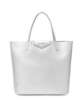 Antigona Medium Metallic Shopper Bag, Silver