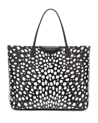 Antigona Large Spotted Shopper Bag, Black/White