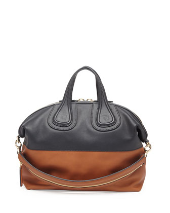 Nightingale Medium Bicolor Satchel Bag, Black/Hazel