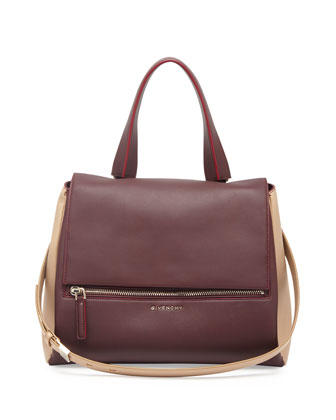 Pandora Medium Bicolor Satchel Bag, Bordeaux