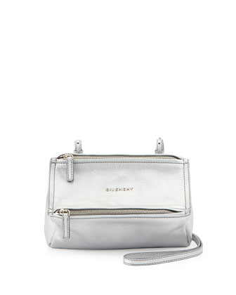 Pandora Mini Leather Crossbody Bag, Silver