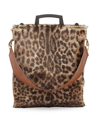 Rave Large Leopard-Print Fur Tote Bag