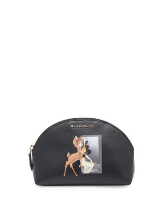 Small Fawn-Print Cosmetic Case, Black
