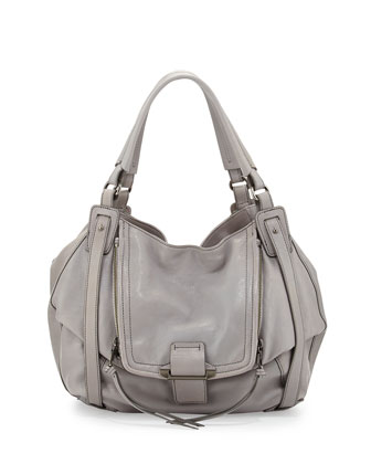 Jonnie Leather Hobo Bag, Light Gray