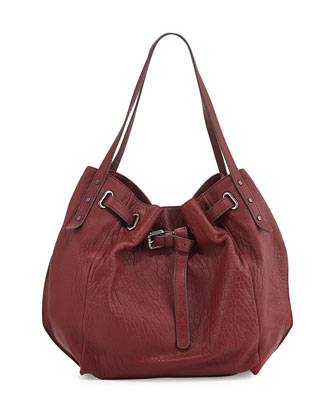 Eva Leather Tote Bag, Bordeaux