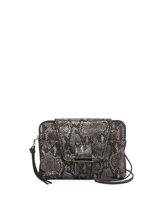 Emery Snake-Print Crossbody Bag, Gunmetal