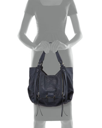 Jonnie Leather Hobo Bag, Navy
