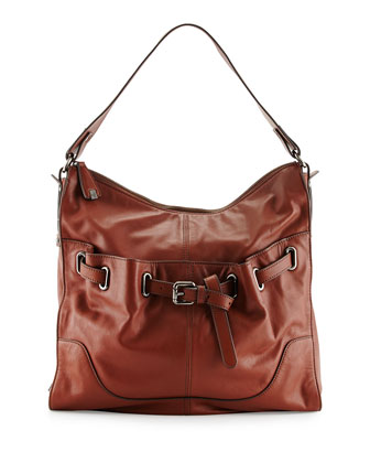Kylie Belted Leather Hobo Bag, Earth