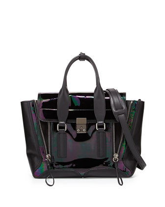 Pashli Medium Iridescent Zip Satchel Bag, Black