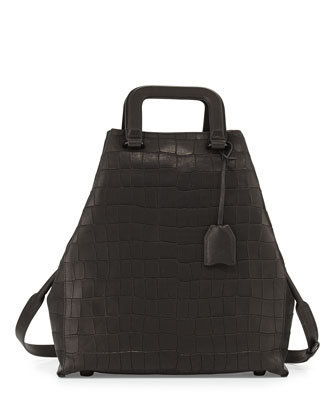 Wednesday Croc-Embossed Tote Bag, Black