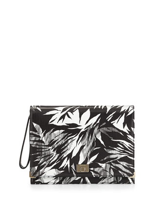 Jourdan 2 Tropical-Print Leather Clutch Bag, Black/Ivory