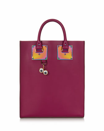 Mini Leather Tote Bag, Raspberry