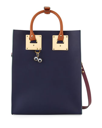 Colorblock Leather Tote Bag, Navy/Bottle Green/Prune