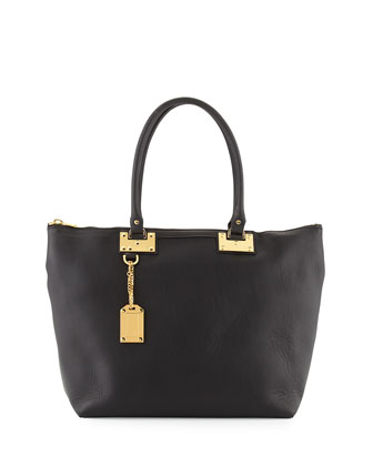 Leather Zip Top Shopper Bag, Black