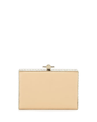 Karlie Crystal & Leather Box Clutch Bag, Beige