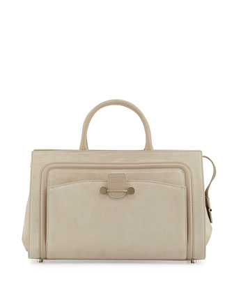 Daphne Suede East/West Tote Bag, Beige