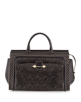 Daphne Laser-Cut East-West Tote Bag, Black