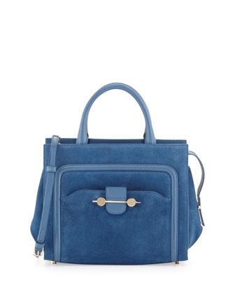 Daphne Suede Crossbody Tote Bag, Blue