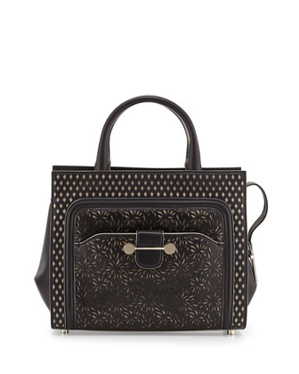 Daphne Laser-Cut Crossbody Tote Bag, Black