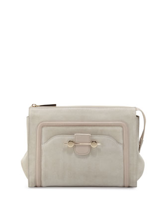 Daphne Suede Clutch Bag, Beige
