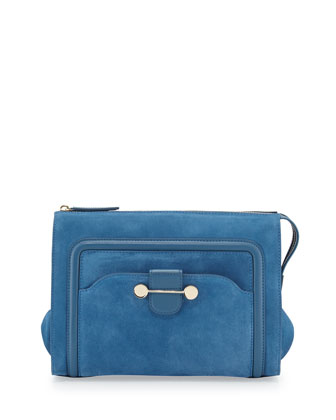 Daphne Suede Clutch Bag, Blue