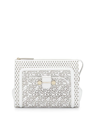 Daphne Laser-Cut Clutch Bag, Ivory
