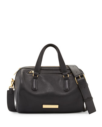 Luna Leather Satchel Bag, Black