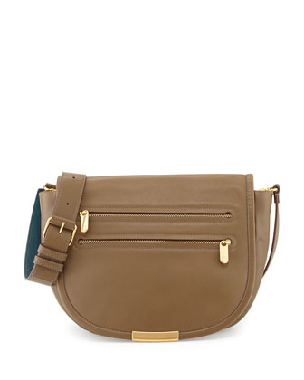 Luna Leather Messenger Bag, Teak