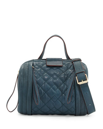 Moto-Quilted Barrel Bag, Hopper Green