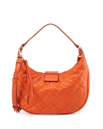 Tiny Moto Quilted Banana Bag, Orange Glow