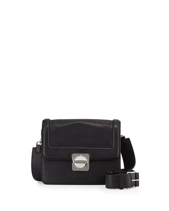 Top Schooly Leather Messenger Bag, Black