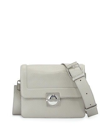 Top Schooly Leather Messenger Bag, Opal Gray