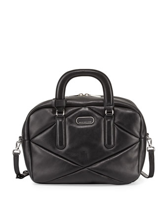Turn Around Leather Satchel Bag, Black