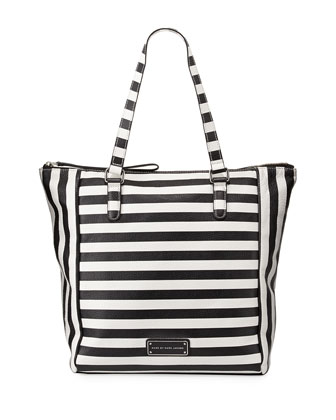 Take Me Striped Leather Tote Bag, Black Multi