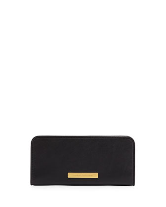 Luna Slim Zip-Around Wallet, Black