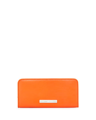 Luna Slim Zip-Around Wallet, Orange Glow