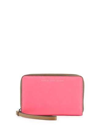 Sophisticato Colorblock Wingman Wristlet Wallet, Knockout Pink