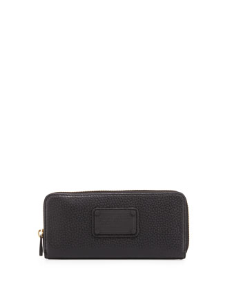 Electro Q Slim Zip-Around Wallet, Black