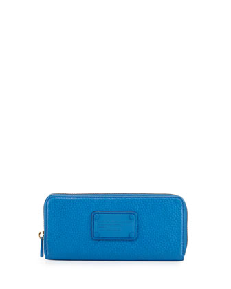 Electro Q Slim Zip-Around Wallet, Electric Blue Lem
