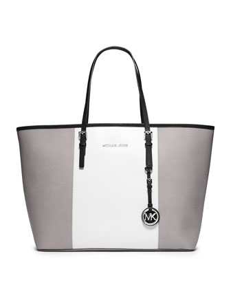 Medium Jet Set Center-Stripe Travel Tote