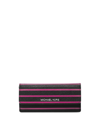 Jet Set Travel Striped Flap Wallet