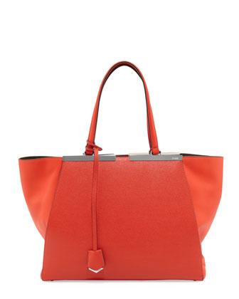 Personalized Trois Jour Grande Leather Tote, Red Orange