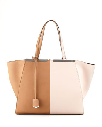 Personalized Trois-Jour Grande Leather Tote Bag, Brown/Pink