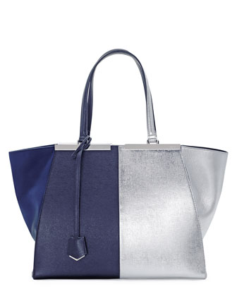 Personalized Trois-Jour Grande Leather Tote Bag, Dark Blue/Silver
