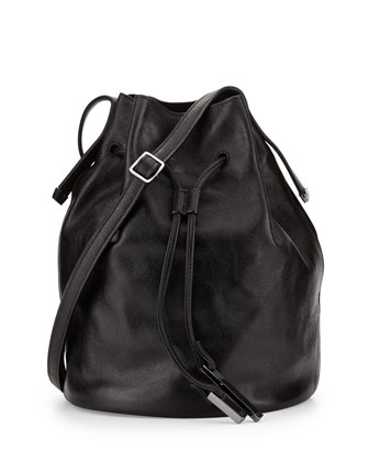 City Casual Leather Bucket Bag, Black