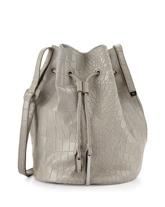City Casual Croc-Embossed Bucket Bag, Heather Gray